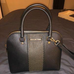 Michael Kors black and gold satchel purse